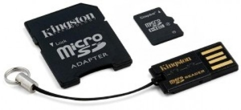Kingston memory card Micro SDHC 16GB Class 4 + reader USB2.0 + SD Adapter