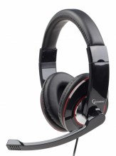 Gembird microphone & stereo headphones with volume control, glossy black