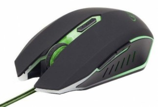 Gembird gaming optical mouse 2400 DPI, 6-button, USB, black with green backlight